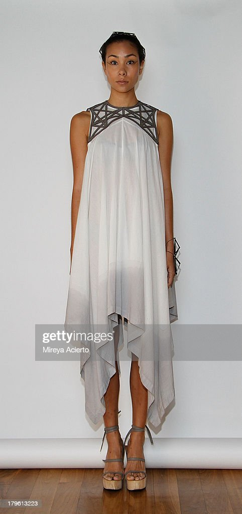 A model poses at Titania Inglis presentation during Mercedes-Benz Fashion Week Spring 2014 at The Standard Hotel - High Line Room on September 5, 2013 in New York City.