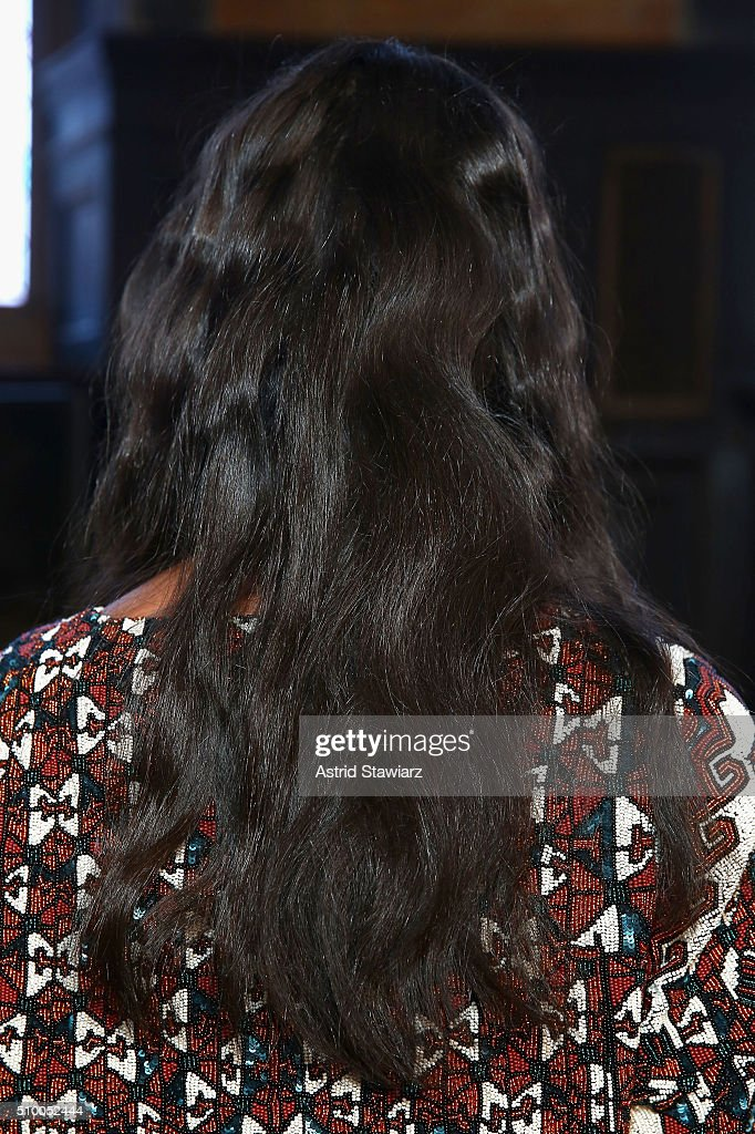 A model poses at TRESemme at Mara Hoffman A/W16 Presentation at High Line Hotel, The Refectory on February 13, 2016 in New York City.