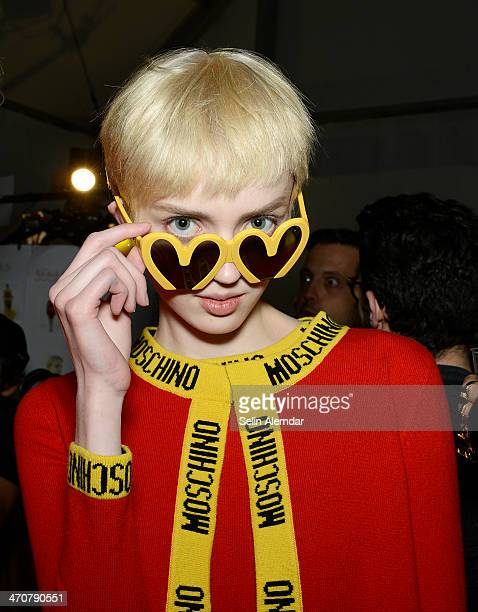 A model poses backstage ahead of Moschino show during Milan Fashion Week Womenswear Autumn/Winter 2014 on February 20 2014 in Milan Italy