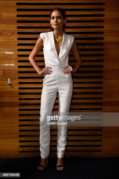 A model poses backstage ahead of the Ae'lkemi show at MercedesBenz Fashion Week Australia 2014 at Carriageworks on April 10 2014 in Sydney Australia