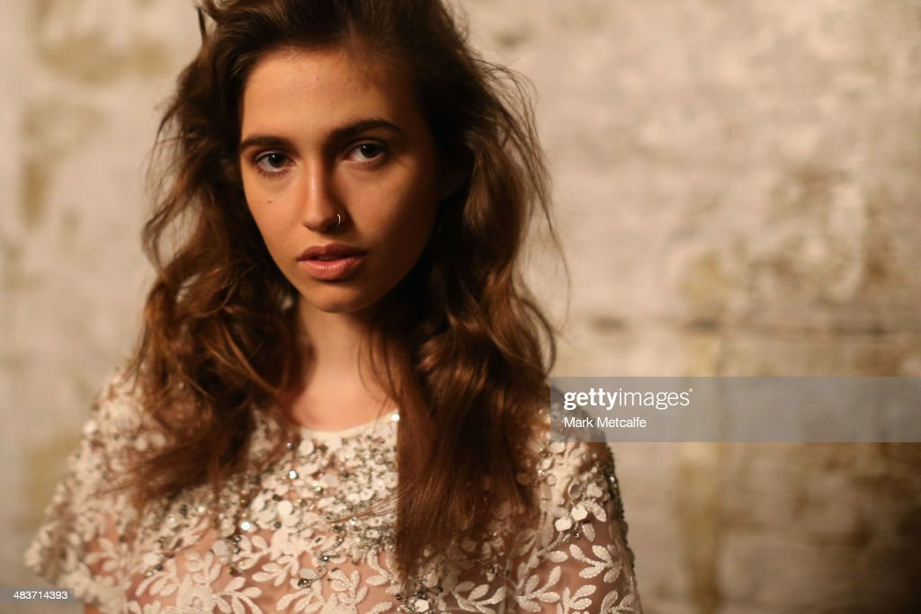 A model poses backstage ahead of the Aje show at Mercedes-Benz Fashion Week Australia 2014 at Carriageworks on April 10, 2014 in Sydney, Australia.