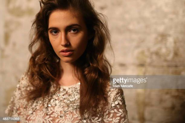 A model poses backstage ahead of the Aje show at MercedesBenz Fashion Week Australia 2014 at Carriageworks on April 10 2014 in Sydney Australia