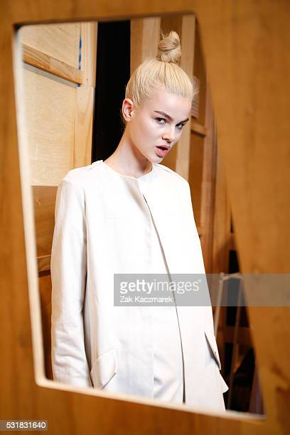 A model poses backstage ahead of the Bianca Spender show at MercedesBenz Fashion Week Resort 17 Collections at Carriageworks on May 17 2016 in Sydney...