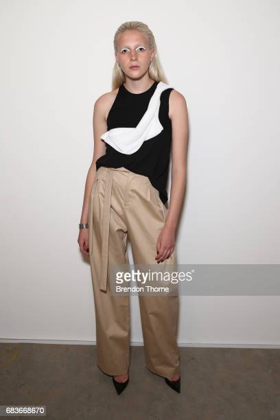 A model poses backstage ahead of the Christopher Esber show at MercedesBenz Fashion Week Resort 18 Collections at The Clothing Store on May 16 2017...