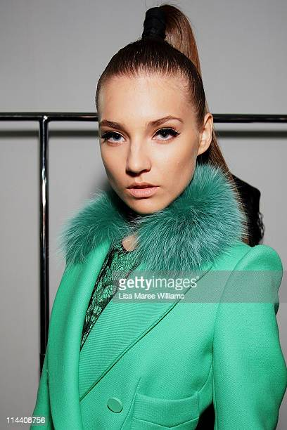 A model poses backstage ahead of the Emanuel Ungaro show during Audi Fashion Festival Singapore 2011 at Tent@Orchard on May 19 2011 in Singapore