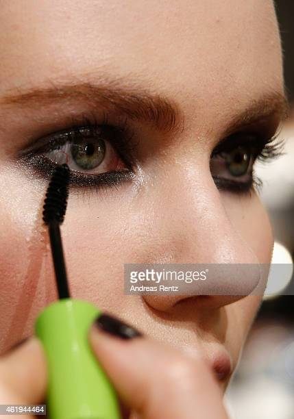 A model poses backstage ahead of the Ewa Herzog show during the MercedesBenz Fashion Week Berlin Autumn/Winter 2015/16 at Brandenburg Gate on January...