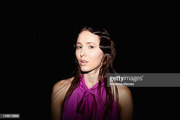 A model poses backstage ahead of the Flowers For A Vegabond show on day two of MercedesBenz Fashion Week Australia Spring/Summer 2012/13 at Overseas...