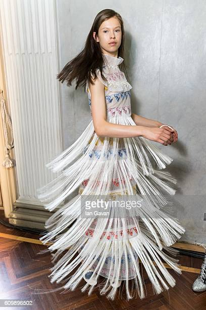 A model poses backstage ahead of the Giamba show during Milan Fashion Week Spring/Summer 2017 on September 23 2016 in Milan Italy