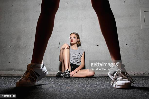 A model poses backstage ahead of the Johanna Johnson Presented By Capitol Grand show at MercedesBenz Fashion Week Australia 2015 at Carriageworks on...