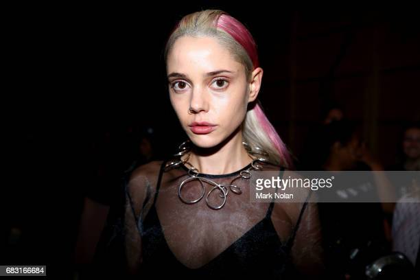 A model poses backstage ahead of the Karla Spetic show at MercedesBenz Fashion Week Resort 18 Collections at Carriageworks on May 15 2017 in Sydney...