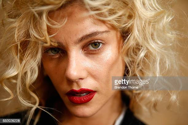 A model poses backstage ahead of the Kitx show at MercedesBenz Fashion Week Resort 17 Collections at Paddington Reservoir on May 18 2016 in Sydney...
