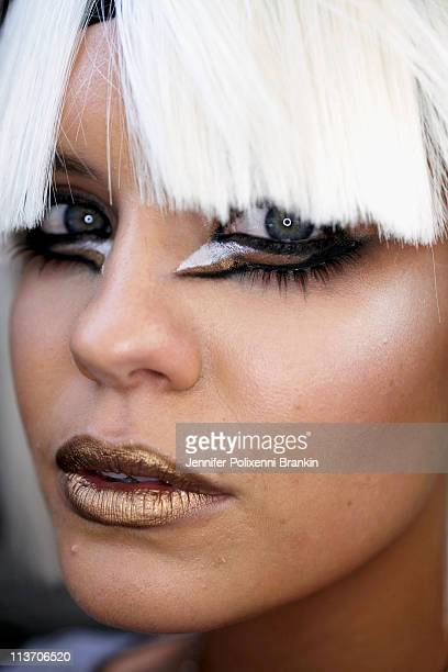 A model poses backstage ahead of the Kooey show during Rosemount Australian Fashion Week Spring/Summer 2011/12 at Overseas Passenger Terminal on May...