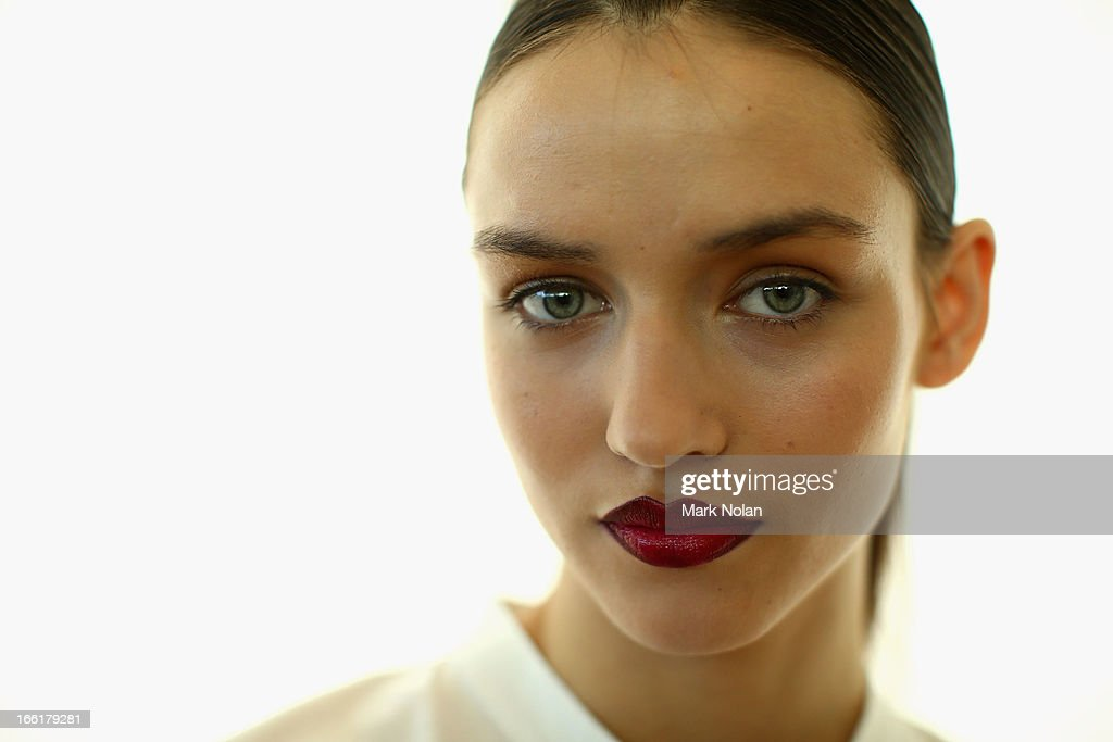 A model poses backstage ahead of the Lisa Ho show during MercedesBenz Fashion Week Australia Spring/Summer 2013/14 at Hughes Gallery on April 10 2013...