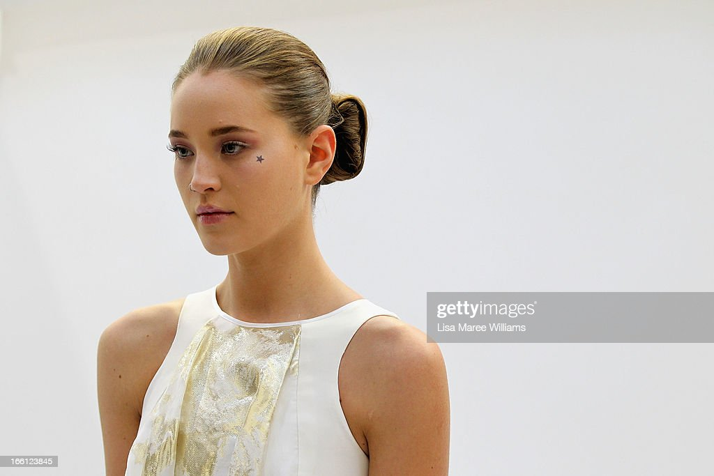 A model poses backstage ahead of the Maticevski show during Mercedes-Benz Fashion Week Australia Spring/Summer 2013/14 at Carriageworks on April 9, 2013 in Sydney, Australia.