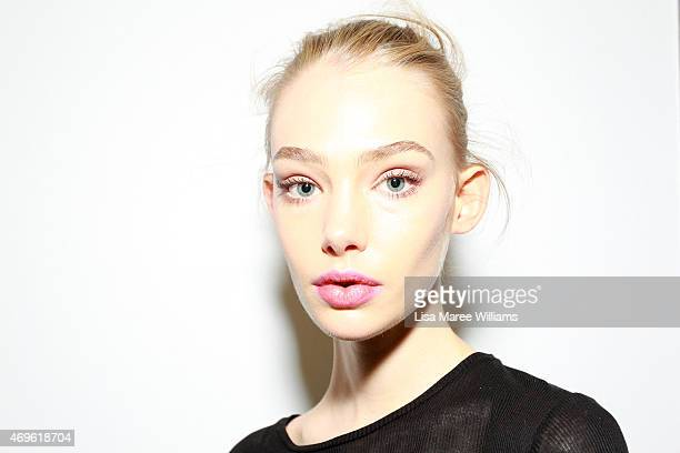 A model poses backstage ahead of the Michael Lo Sordo show at MercedesBenz Fashion Week Australia 2015 at Carriageworks on April 14 2015 in Sydney...