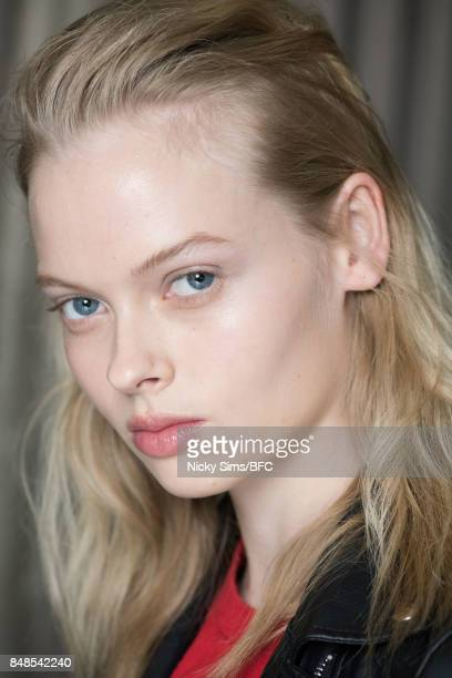 A model poses backstage ahead of the Peter Pilotto show during London Fashion Week September 2017 on September 17 2017 in London England