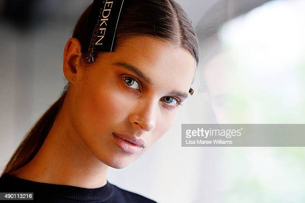 A model poses backstage ahead of the Ready To Wear show during MercedesBenz Fashion Festival Sydney 2015 at Sydney Town Hall on September 26 2015 in...