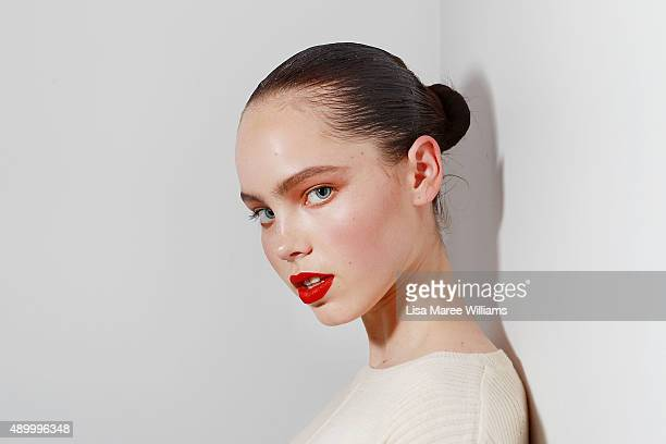 A model poses backstage ahead of the Red Carpet show during MercedesBenz Fashion Festival Sydney 2015 at Sydney Town Hall on September 25 2015 in...