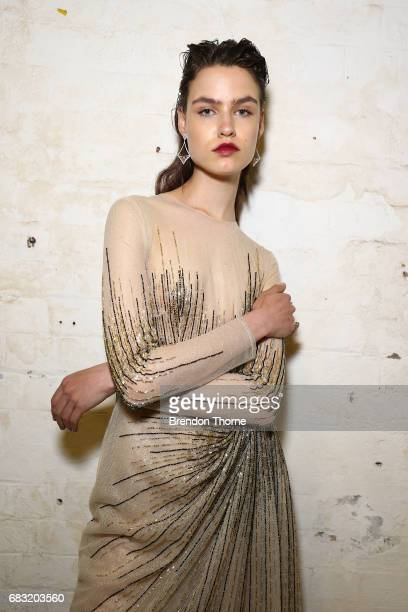 A model poses backstage ahead of the Steven Khalil show at MercedesBenz Fashion Week Resort 18 Collections at Elston Room on May 15 2017 in Sydney...
