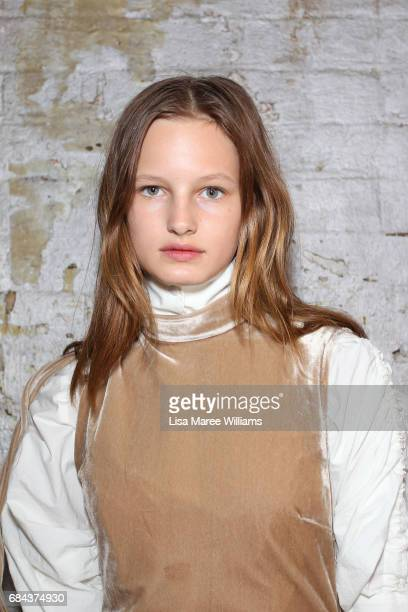 A model poses backstage ahead of the StrateasCarlucci show at MercedesBenz Fashion Week Resort 18 Collections at Carriageworks on May 18 2017 in...