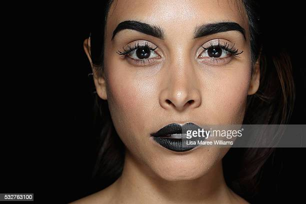 A model poses backstage ahead of the We Are Handsome show at MercedesBenz Fashion Week Resort 17 Collections at Carriageworks on May 19 2016 in...