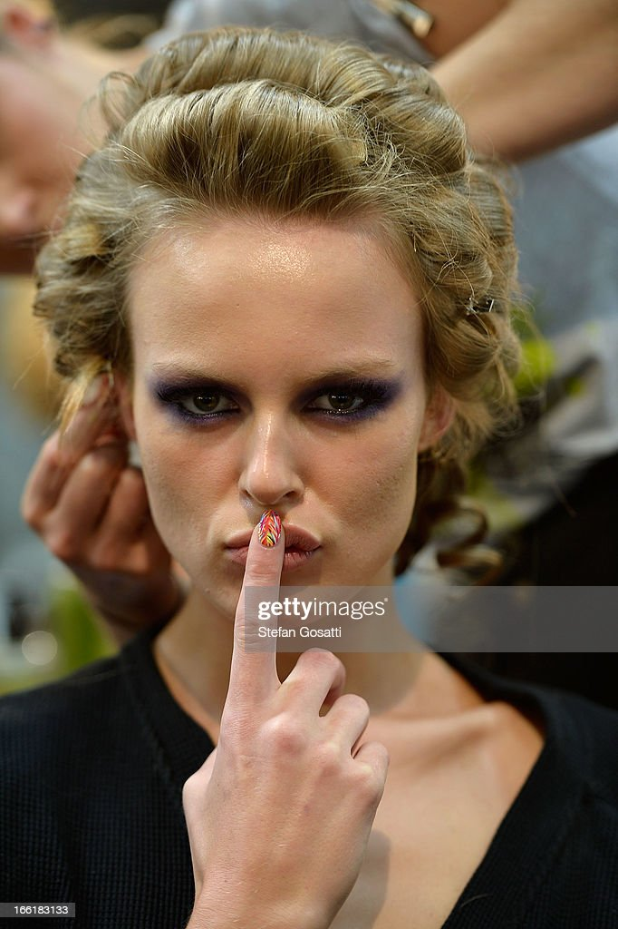 A model poses backstage ahead of the We Are Handsome show during Mercedes-Benz Fashion Week Australia Spring/Summer 2013/14 at Carriageworks on April 10, 2013 in Sydney, Australia.