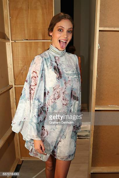 A model poses backstage ahead of the We Are Kindred show at MercedesBenz Fashion Week Resort 17 Collections at Carriageworks on May 18 2016 in Sydney...