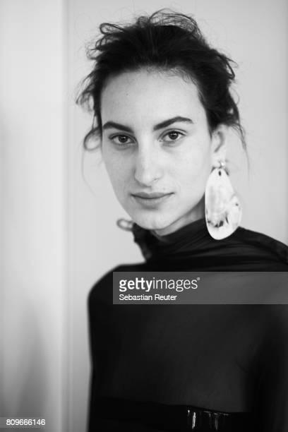 A model poses backstage ahread of Vanessa Schindler defile during 'Der Berliner Mode Salon' Spring/Summer 2018 at Kronprinzenpalais on July 6 2017 in...