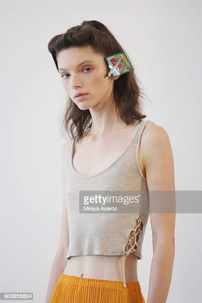 A model poses backstage at Brock Collection fashion show during MADE Fashion Week September 2016 at Milk Studios on September 8 2016 in New York City