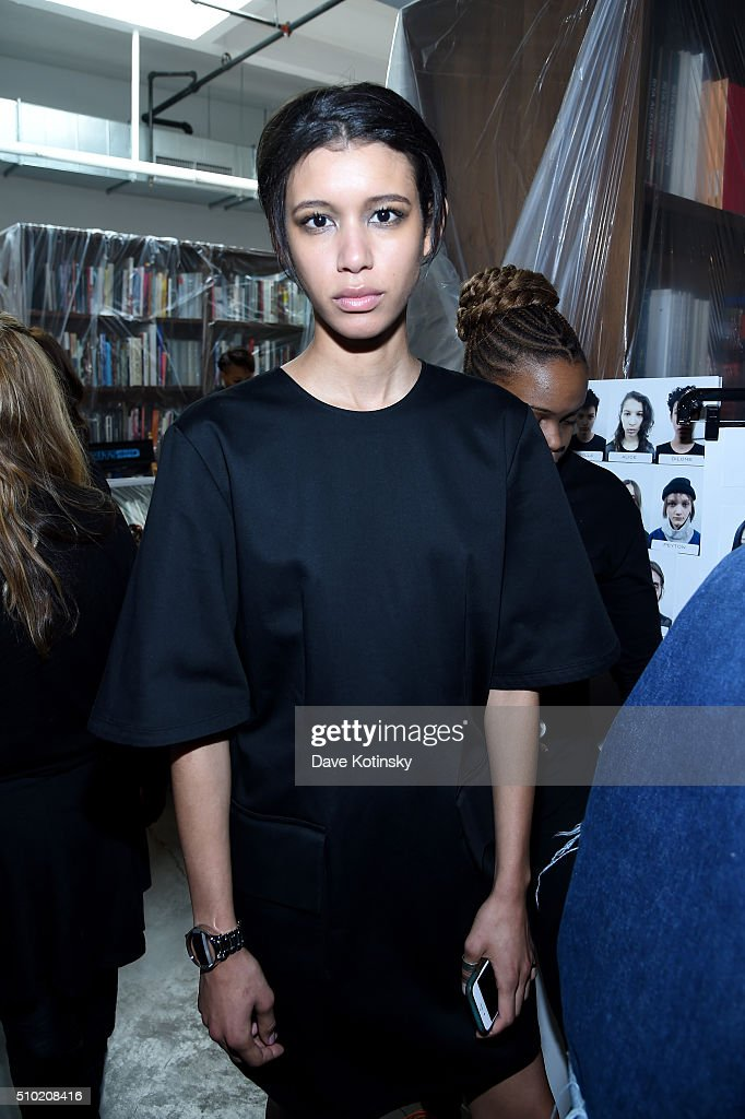 A model poses backstage at Fitbit and PUBLIC SCHOOL Collaborate On Accessories Collection For Fitbit Alta on February 14, 2016 in New York City.