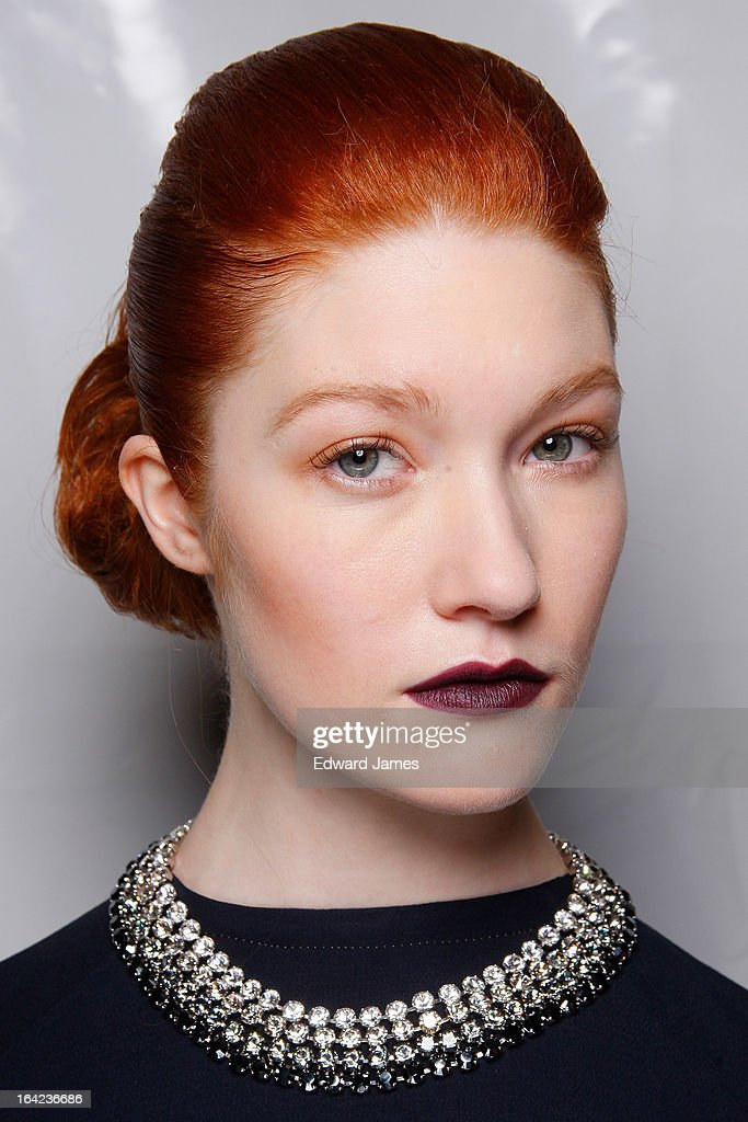 A model poses backstage at Maison Matthew Gallagher at David Pecaut Square on March 21, 2013 in Toronto, Canada.