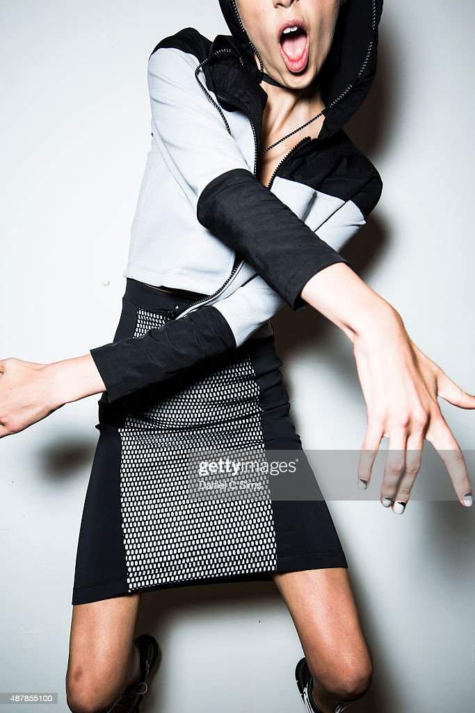 A model poses backstage at Milk Studios on September 11, 2015 in New York City.