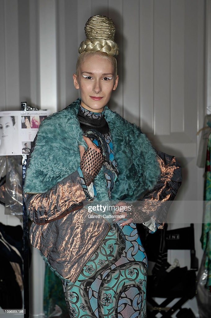 A model poses backstage at Miranda Konstantinidou Autumn/Winter 2013/14 fashion show during Mercedes-Benz Fashion Week Berlin at Brandenburg Gate on January 18, 2013 in Berlin, Germany.