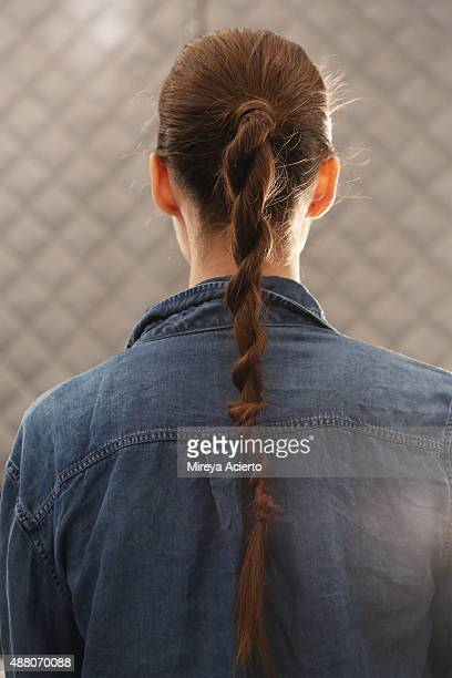 A model poses backstage at Public School fashion show during Spring 2016 New York Fashion Week The Shows at The Arc Skylight at Moynihan Station on...