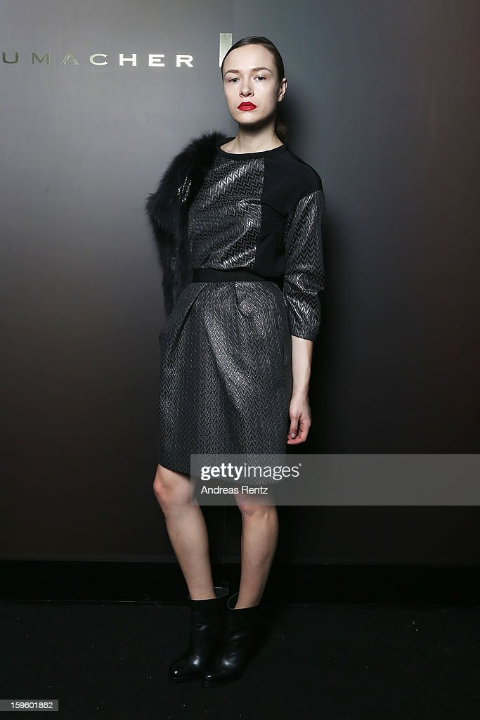 A model poses backstage at Schumacher Autumn/Winter 2013/14 Fashion Show during Mercedes-Benz Fashion Week Berlin at Brandenburg Gate on January 17, 2013 in Berlin, Germany.