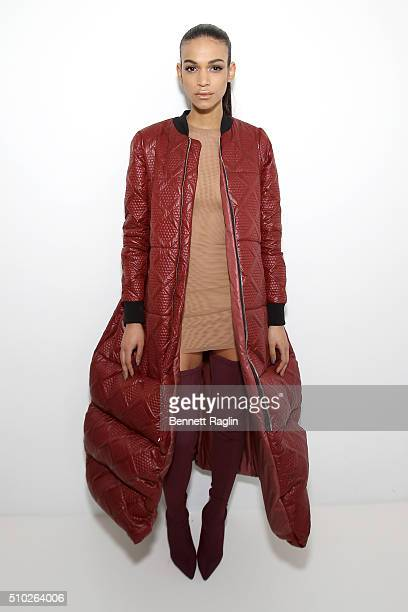A model poses backstage at SheaMoisture at Laquan Smith F/W 2016 NYFW at Jack Studios on February 14 2016 in New York City