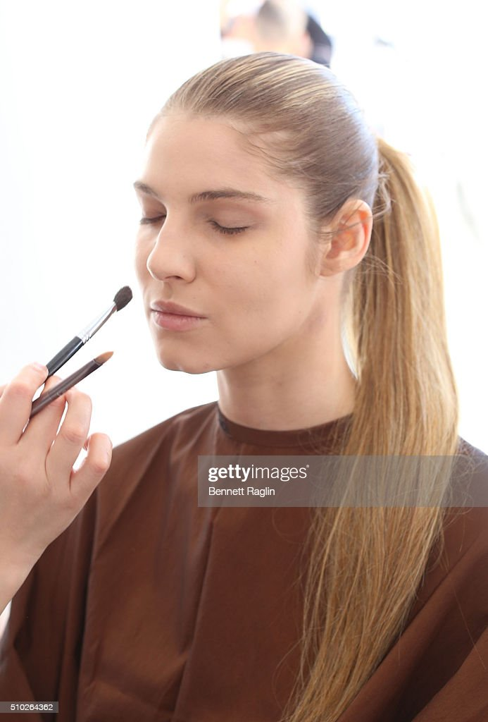 A model poses backstage at SheaMoisture at Laquan Smith F/W 2016 NYFW at Jack Studios on February 14, 2016 in New York City.