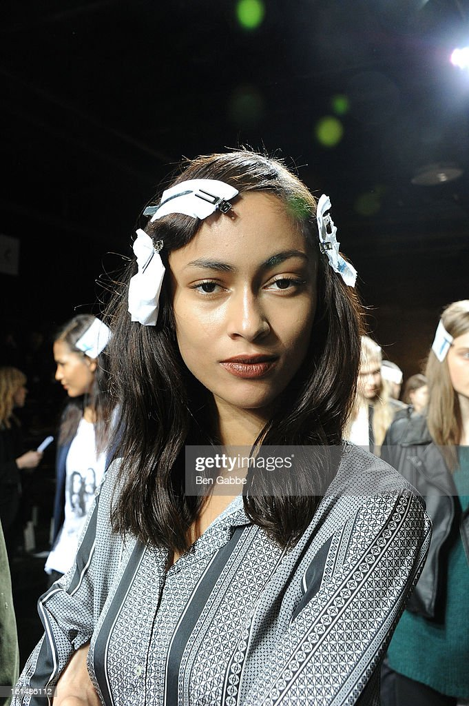 A model poses backstage at the 3.1 Phillip Lim fall 2013 fashion show during Mercedes-Benz Fashion Week on February 11, 2013 in New York City.