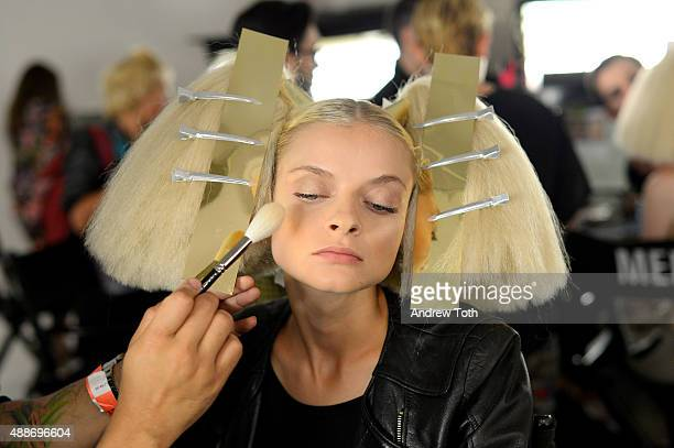 A model poses backstage at The Blonds show during Spring 2016 MADE Fashion Week at Milk Studios on September 16 2015 in New York City