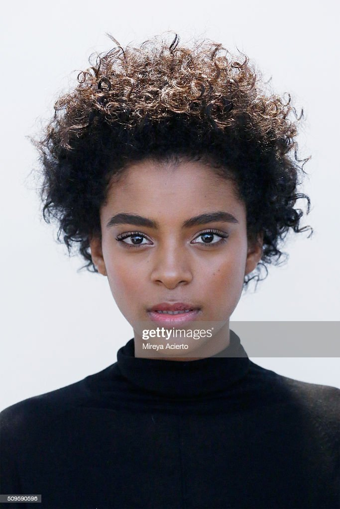 A model poses backstage at the Brock Collection fashion show during Fall 2016 MADE Fashion Week at Milk Studios on February 11, 2016 in New York City.