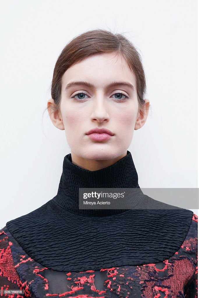 A model poses backstage at the CG fashion show during Fall 2016 MADE Fashion Week at Milk Studios on February 12, 2016 in New York City.