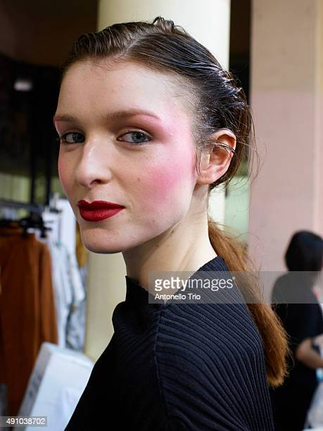 A model poses backstage at the Chalayan show as part of Paris Fashion Week Womenswear Spring/Summer 2016 on October 2 2015 in Paris France
