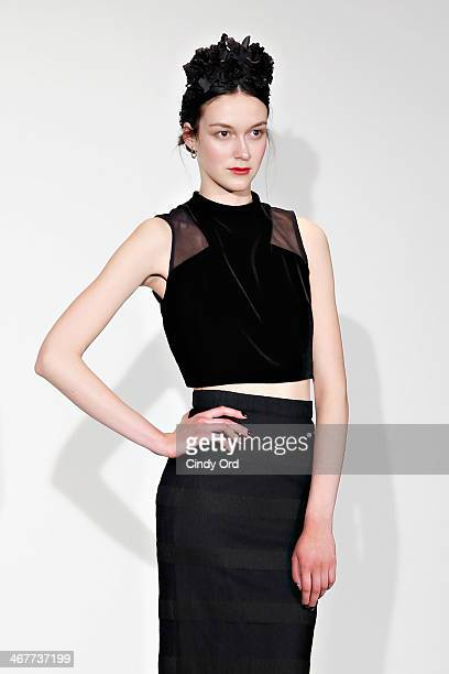 A model poses backstage at the Charlotte Ronson Fall 2014 Presentation during MercedesBenz Fashion Week at The Hub at The Hudson Hotel on February 7...