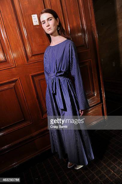 A model poses backstage at the Creatures of Comfort fashion show at Capitale on February 12 2015 in New York City