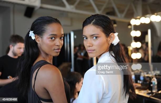 A model poses backstage at the Creatures of Comfort fashion show during MercedesBenz Fashion Week Spring 2015 at Pier 59 on September 4 2014 in New...