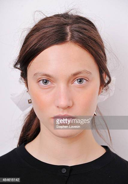 A model poses backstage at The Creatures of The Wind Presentation during MercedesBenz Fashion Week Spring 2015 on September 4 2014 in New York City
