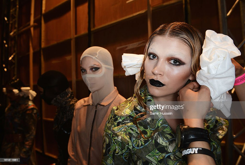 A model poses backstage at the Dans La Vie show during London Fashion Week Fall/Winter 2013/14 at Freemasons Hall on February 16, 2013 in London, England.