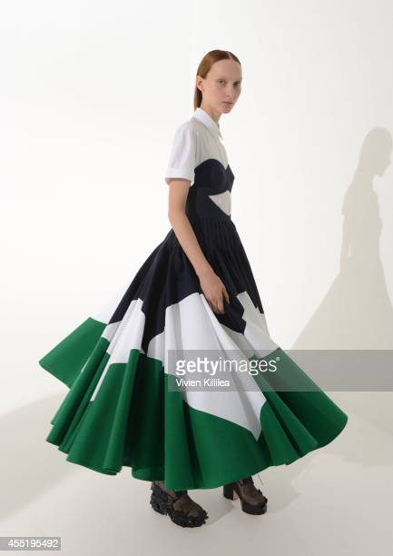 A model poses backstage at the Delpozo fashion show during MercedesBenz Fashion Week Spring 2015 at Location 05 Studios on September 10 2014 in New...