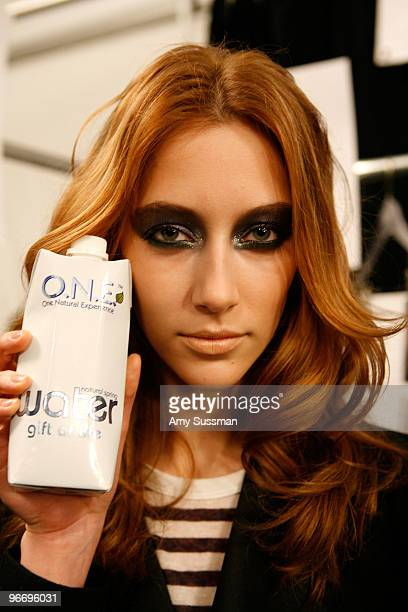 A model poses backstage at the Diane Von Furstenberg Fall 2010 Fashion Show presented by Tetra Pak ONE during MercedesBenz Fashion Week at The Tent...