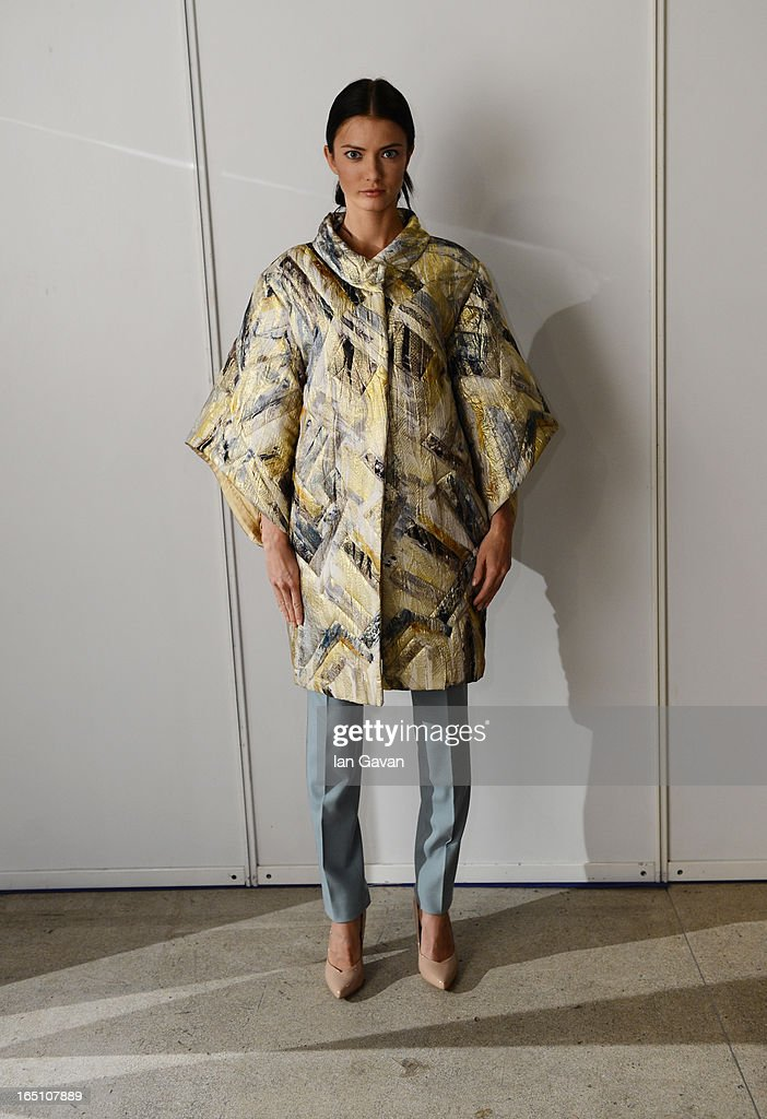 A model poses backstage at the Enteley show during Mercedes-Benz Fashion Week Russia Fall/Winter 2013/2014 at Manege on March 30, 2013 in Moscow, Russia.